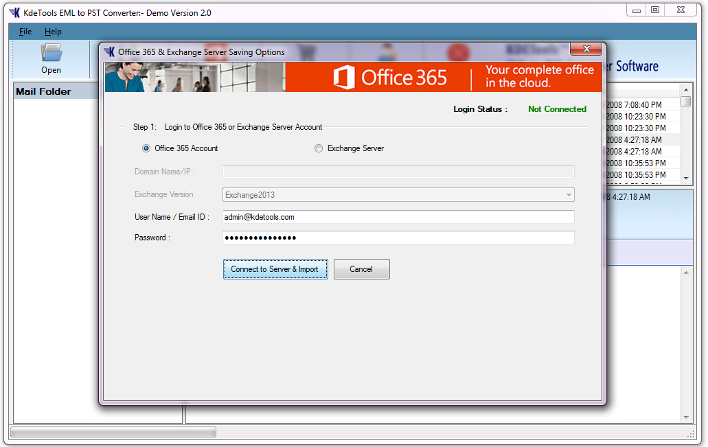 Import EML to Office 365