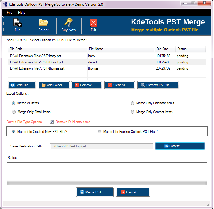 Create new PST file folder